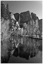 Yosemite Falls reflected in mirror-like Merced River, early spring. Yosemite National Park ( black and white)
