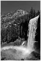 Vernal Fall with rainbow. Yosemite National Park ( black and white)