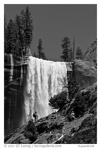 Hikers standing on Mist Trail below Vernal Fall. Yosemite National Park (black and white)