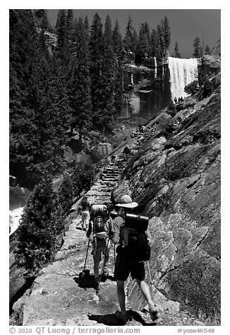 Backpackers on Mist Trail. Yosemite National Park (black and white)