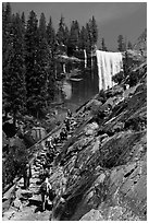 Crowded Mist Trail and Vernal fall. Yosemite National Park, California, USA. (black and white)