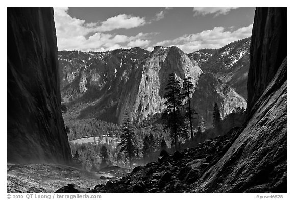 Cathedral Rocks and El Capitan Meadows from base of Ribbon Falls. Yosemite National Park (black and white)