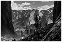 Cathedral Rocks and El Capitan Meadows from base of Ribbon Falls. Yosemite National Park ( black and white)