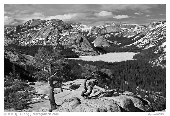 Iced-up Tenaya Lake and domes. Yosemite National Park (black and white)