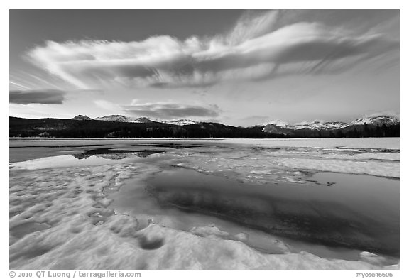 Meltpool, Twolumne Meadows at dusk. Yosemite National Park (black and white)