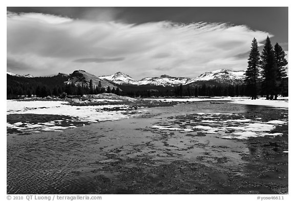 Flooded Twolumne Meadows in spring. Yosemite National Park (black and white)