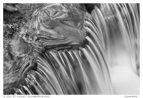Fern Spring cascade. Yosemite National Park (black and white)