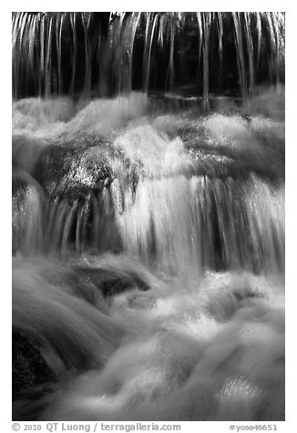 Cascades, Fern Spring. Yosemite National Park (black and white)