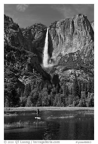 Man paddling in flooded meadow below Yosemite Falls. Yosemite National Park (black and white)