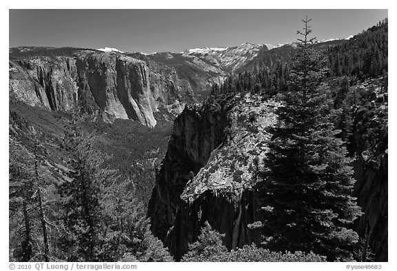 View of Valley and Silver Strand Falls from Pohono Trail. Yosemite National Park (black and white)