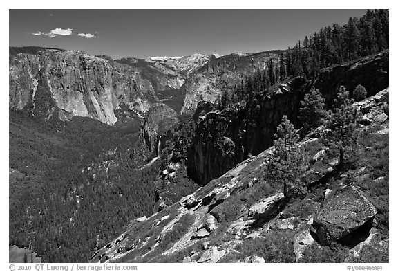 View of Yosemite Valley from Stanford Point. Yosemite National Park (black and white)