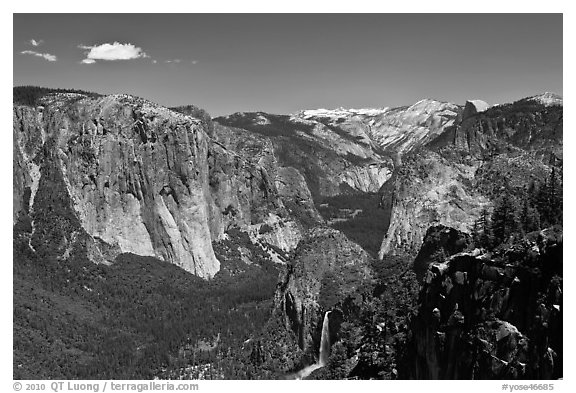 View of Bridalveil Fall and Yosemite Valley. Yosemite National Park (black and white)