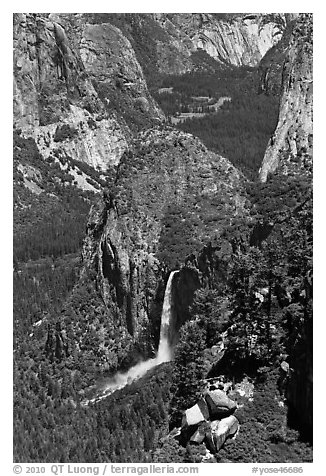 Bridalveil Fall and Yosemite Valley from South Rim. Yosemite National Park (black and white)
