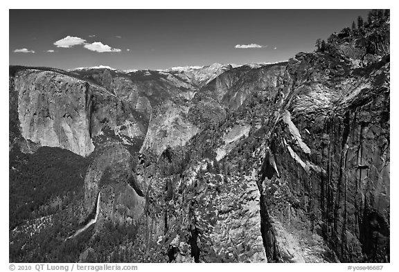 View of Bridalveil Fall and Yosemite Valley from Crocker Point. Yosemite National Park (black and white)