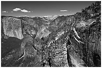 View of Bridalveil Fall and Yosemite Valley from Crocker Point. Yosemite National Park ( black and white)