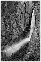 Bridalveil Fall and rainbow from above. Yosemite National Park ( black and white)