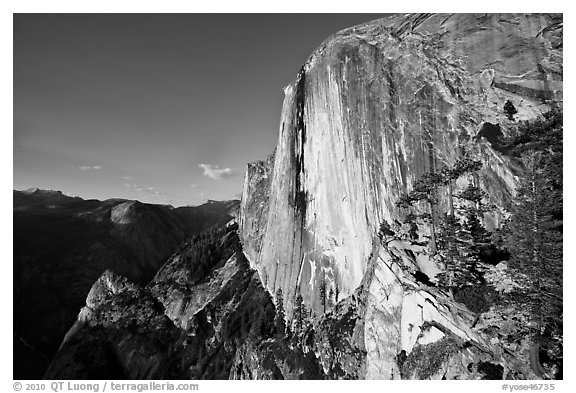 North-West face of Half-Dome. Yosemite National Park (black and white)