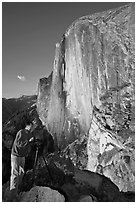Photographer on Diving Board and Half-Dome. Yosemite National Park, California, USA. (black and white)