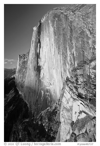 Sheer face of Half-Dome at sunset. Yosemite National Park (black and white)