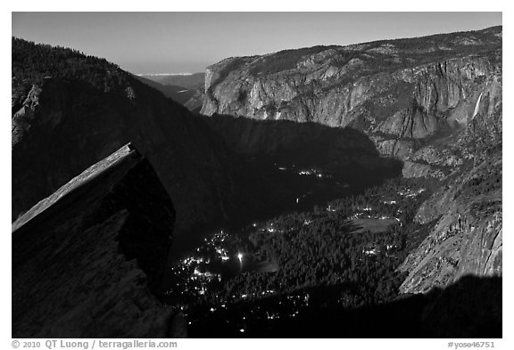 Lights of Yosemite by full moon night. Yosemite National Park (black and white)