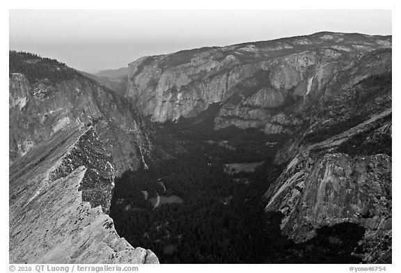 Yosemite Valley seen from Diving Board, dawn. Yosemite National Park (black and white)