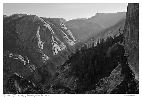 Tenaya Canyon and Mt Watkins. Yosemite National Park (black and white)