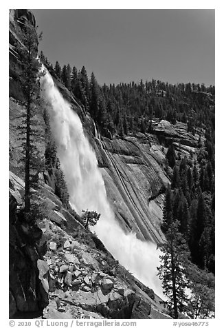 Nevada Falls and cliff. Yosemite National Park (black and white)