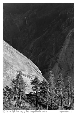 North Dome with Illouette Fall in distance. Yosemite National Park (black and white)