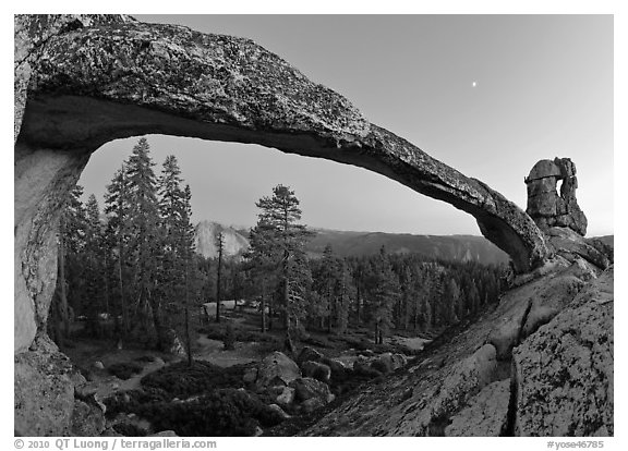 Indian Arch and Half-Dome at dusk. Yosemite National Park (black and white)