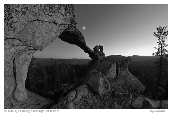 Indian Arch and moon at dusk. Yosemite National Park (black and white)