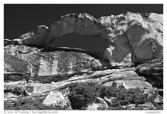 Rare granite arch, Indian Rock. Yosemite National Park (black and white)