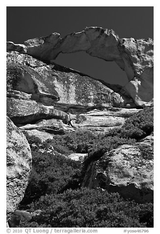 Granite natural arch, Indian Rock. Yosemite National Park (black and white)