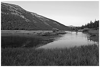 Lyell Canyon and Lyell Fork of the Tuolumne River, sunset. Yosemite National Park ( black and white)