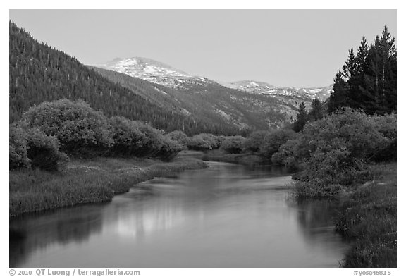 Snowy peak and Tuolumne River, Lyell Canyon, dusk. Yosemite National Park (black and white)