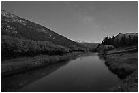 Stars above Lyell Canyon and Tuolumne River. Yosemite National Park ( black and white)