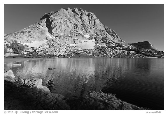 Fletcher Peak rising above Fletcher Lake. Yosemite National Park (black and white)