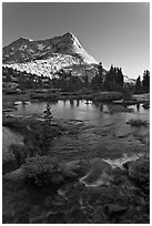 Vogelsang Peak reflected in stream pond. Yosemite National Park ( black and white)