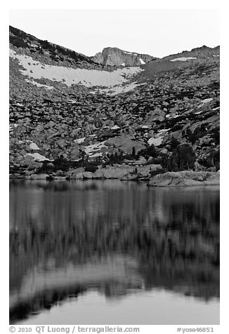 Last light on peak reflected in Vogelsang Lake. Yosemite National Park (black and white)