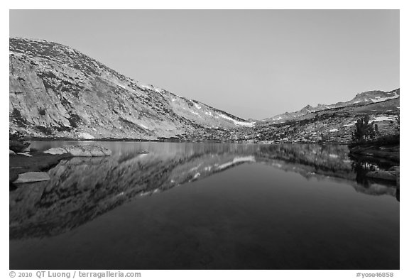 Vogelsang Lake at dusk. Yosemite National Park (black and white)