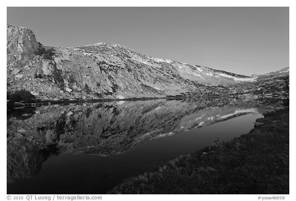 Fletcher Peak reflected in Vogelsang Lake, dusk. Yosemite National Park (black and white)