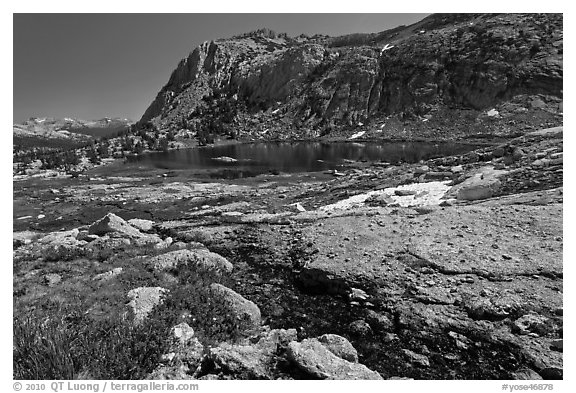 Alpine scenery with flowers, stream, lake, and mountains, Vogelsang. Yosemite National Park (black and white)