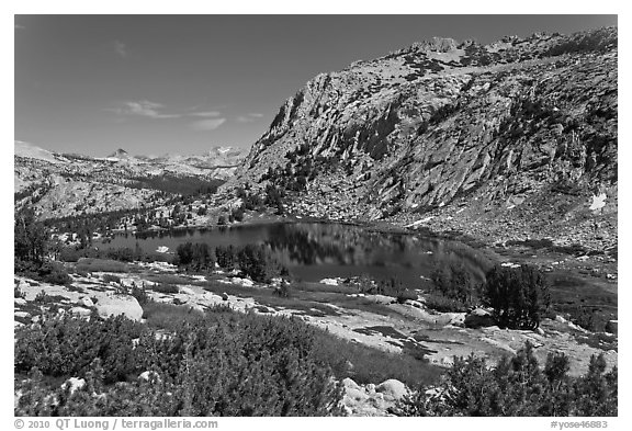 High Sierra landscape with Fletcher Peak and Vogelsang Lake. Yosemite National Park (black and white)