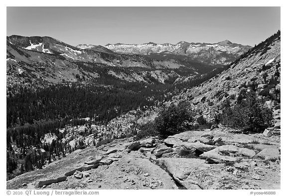 High Sierra view from Vogelsang Pass above Lewis Creek with Clark Range. Yosemite National Park (black and white)