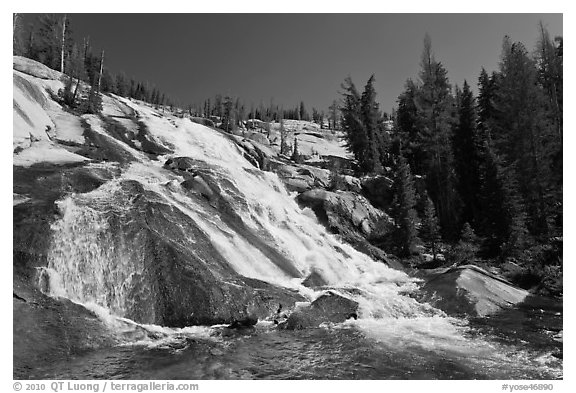 Stream flowing over steep smooth granite, Lewis Creek. Yosemite National Park (black and white)