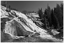 Stream flowing over steep smooth granite, Lewis Creek. Yosemite National Park, California, USA. (black and white)