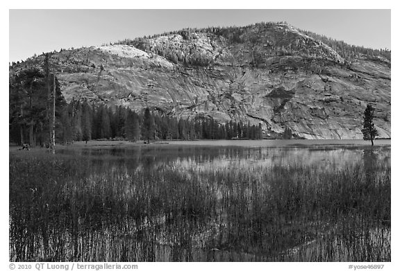 Peak reflected in Merced Lake, sunset. Yosemite National Park (black and white)