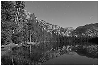 Merced Lake by moonlight. Yosemite National Park, California, USA. (black and white)