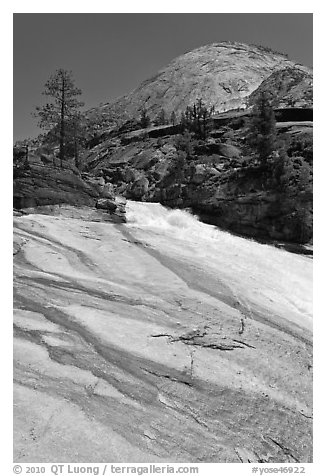 Granite slab, Merced River, and dome. Yosemite National Park (black and white)