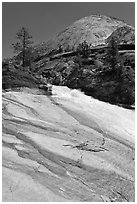 Granite slab, Merced River, and dome. Yosemite National Park, California, USA. (black and white)