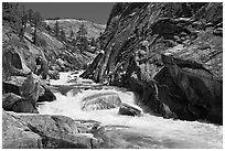 Gorge, Upper Merced River Canyon. Yosemite National Park, California, USA. (black and white)